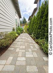 altana, ogród, brukarz, pasaż, ścieżka, cegła