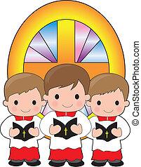 Altar Boys - A trio of altar boys are holding bibles and...