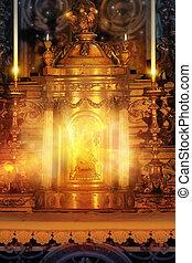 altar, glühen