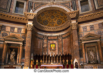 Altar Gold Icon Pantheon Rome Italy - Altar Candles Gold...