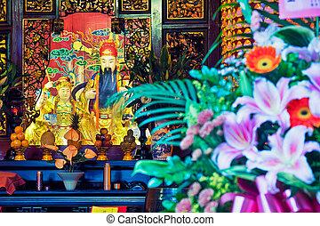 Altar in a Taoist temple, Taipei - Taiwan. - Altar in a...