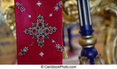 Altar in church. Christianity religion red scarf