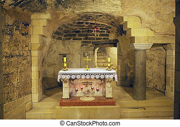 Nazareth Cathedral - Altar inside the cave in the Nazareth...