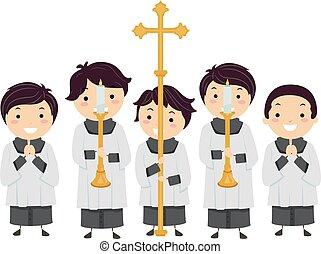 altar, niños, stickman, ilustración, niños