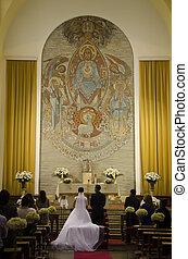 altar, noivo, noiva