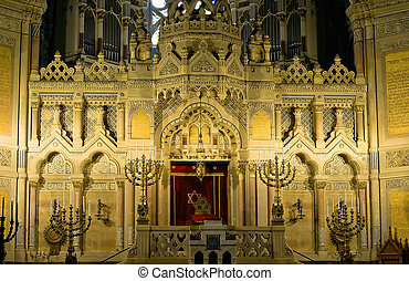 Altar of synagogue in Szeged - Detail of the altar of the...