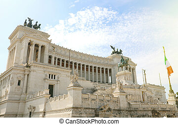 "Altar of the Fatherland (Altare della Patria) known as the Monumento Nazionale a Vittorio Emanuele II (""National Monument to Victor Emmanuel II"") or Il Vittoriano in Rome, Italy."