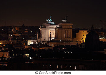 Monumento Nazionale a Vittorio Emanuele II or Altar of the Fatherland at Night, Rome, Italy