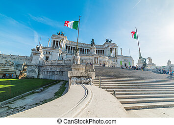 Altar of the fatherland on a sunny day in Rome, Italy