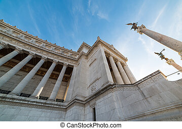 Altar of the fatherland seen from above in Rome, Italy