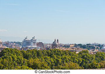 Altar of the fatherland seen from the Janiculum. Rome, Italy