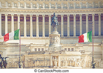 Altar of the Fatherland with Italian tricolor