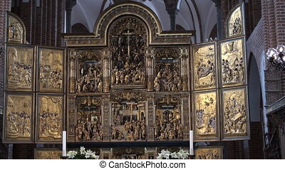Altar piece at the Cathedral of Roskilde, Copenhagen,...