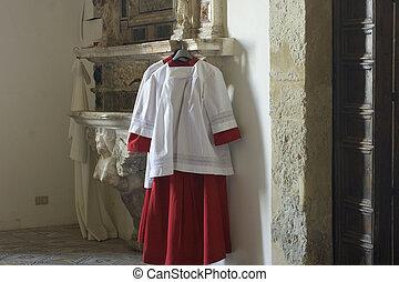 altar, sotana, niño