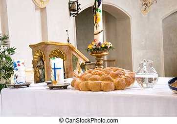 altar - last supper items on an altar