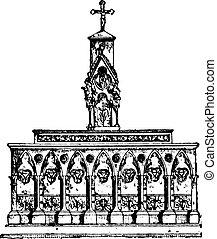 Altar, vintage engraving.