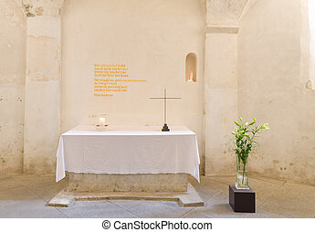altar with cross - simple altar with a small cross