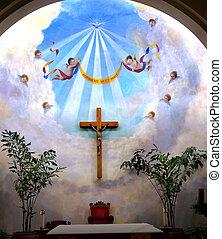 altare, angeli, croce, crocifisso, vecchio, concezione immacolata, chiesa, vecchio, san diego, california, storico, adobe, chiesa, costruito, originally, in, 1851., il, vecchio, adobe, chiesa, era, ristabilito, e, reopened, in, 1917.