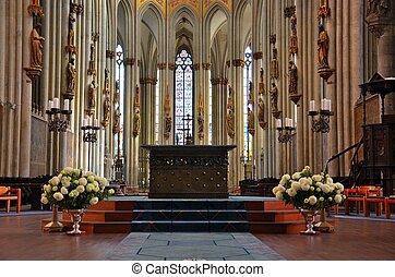 altare, chiesa, vetro art, piattaforma