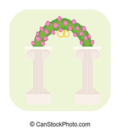 altare, matrimonio, cartone animato, icona