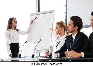 Altavoces, reunión, empresa / negocio