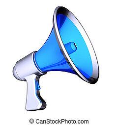 altavoz, azul, comunicación, blog, noticias, megáfono