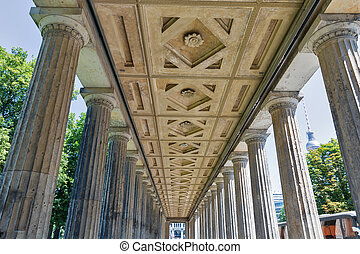 alte, cour, dehors, berlin, nationalgalerie, colonnade, germany.