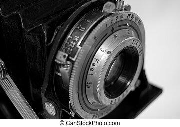 alte kamera, aufschließen, -, sehr, seicht, schärfentiefe