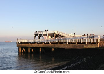 Alte Liebe - famous observation deck in Cuxhaven/ Germany at...