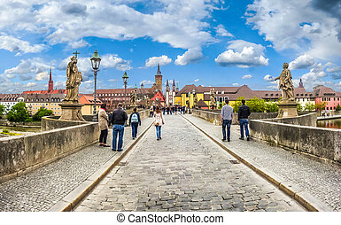 Beautiful view of famous Alte Mainbrucke the historic city of Wurzburg on a sunny day, region of Franconia, Northern Bavaria, Germany
