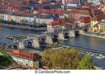 Alte Mainbrucke (old bridge) was erected from 1473 to 1543, Wurzburg, Germany. View from Fortress Marienberg