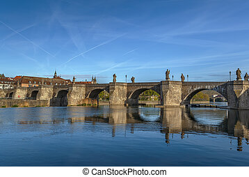 Alte Mainbrucke (old bridge) was erected from 1473 to 1543, Wurzburg, Germany.
