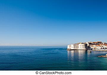 alte stadt, dubrovnik, aus, adriatisches meer, sonnenaufgang
