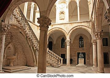 alte stadt, dubrovnik, rector's, palast, atrium, kroatien