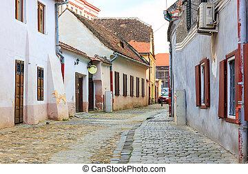 alte stadt, in, der, historische , zentrieren, von, sibiu, rumänien