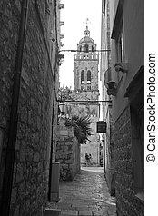 alte stadt, und, kathedrale, -, korcula