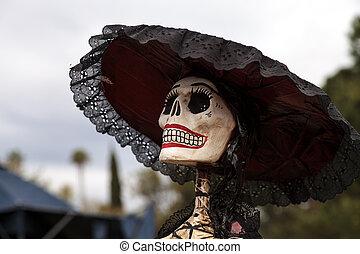 Skull at Dia de los Muertos, Day of the dead, in Los Angeles.