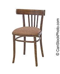 alter hölzerner stuhl, freigestellt, auf, a, weißer...
