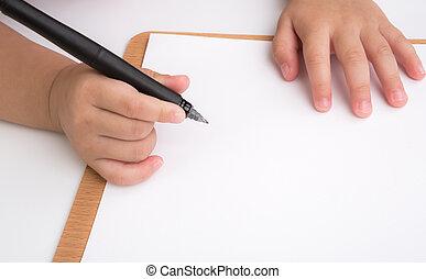 alter, kind, vorschulisch, schreibende
