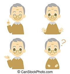 alter mann, überrascht, verwirren, sprechen