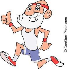 alter mann, jogging, 2