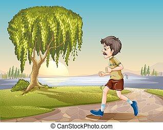 alter mann, jogging, park
