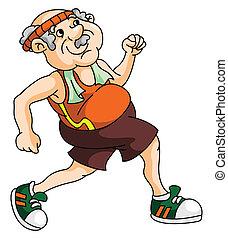 alter mann, rennender
