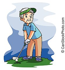 alter mann, spielen golf