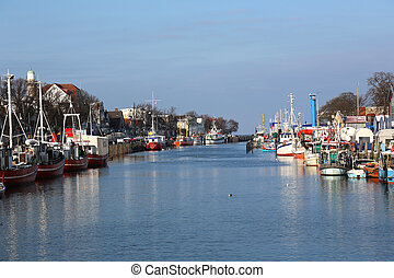 the Alter Strom, Old Channal, in Warnemuende, Germany