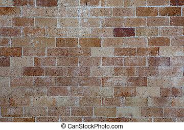 alterato, parete, fondo, mattone
