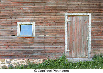 alterato, porta, rosso, finestra