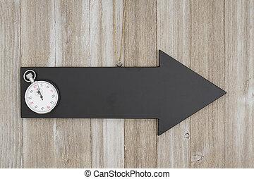 alterato, segno, legno, lavagna, freccia, cronometro