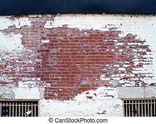 alterato, vecchio, negozio, muro di mattoni