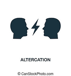 Altercation icon. Monochrome style design from business ethics icon collection. UI and UX. Pixel perfect altercation icon. For web design, apps, software, print usage.
